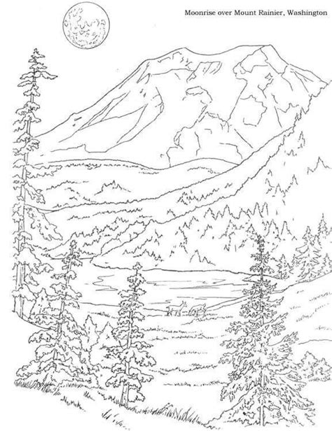 coloring pages landscapes mountains mountain coloring pages pinterest wood burning