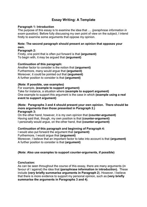 template of an essay essay writing template