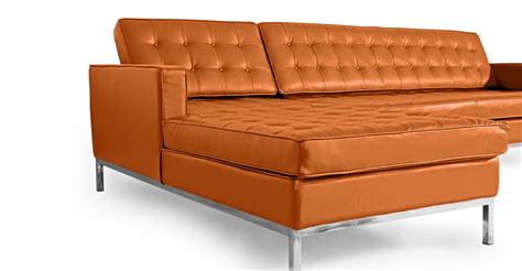 caramel leather sectional florence knoll style sofa sectional left caramel 100