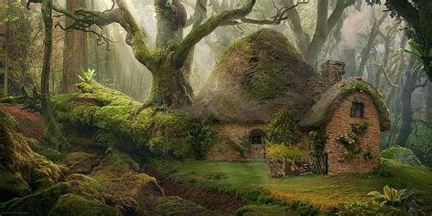 hd wallpaper brown hobbit house nature forest fantasy