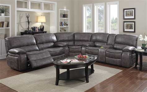 Grey Reclining Sectional E Motion Grey Reclining Sectional With Console Kian Usa