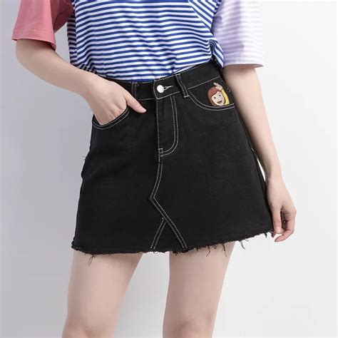 popular black denim skirts buy cheap black denim skirts