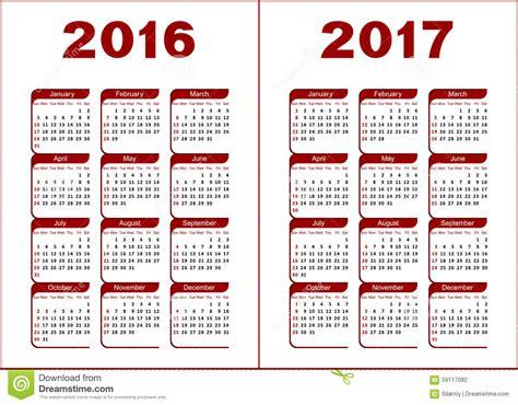 Calendrier Numéro Semaine 2016 Calendrier 2016 2017 Illustration De Vecteur Image
