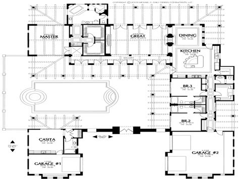 Style Home Plans With Courtyard by Hacienda House Plans Courtyard