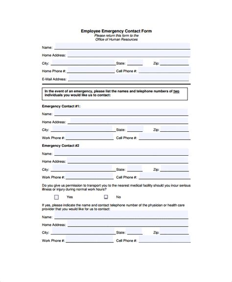 emergency contact form template sle emergency contact form 7 documents in pdf word