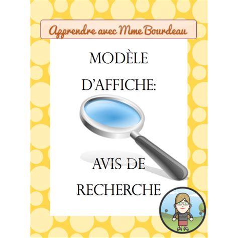 Modele Avis De Recherche