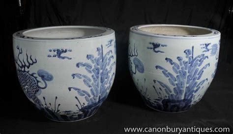 Blue And White Porcelain Planters Dragon Bowls Nanking Pottery Blue And White Porcelain Planters