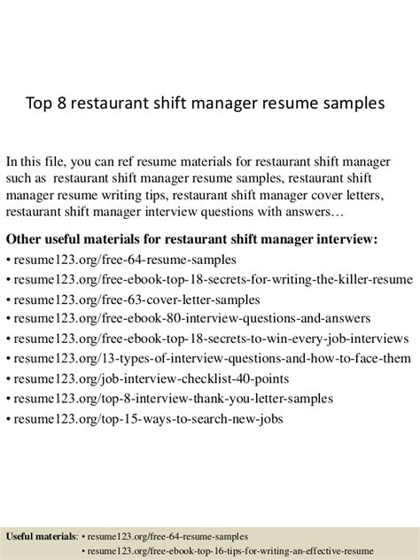 top 8 restaurant shift manager resume sles