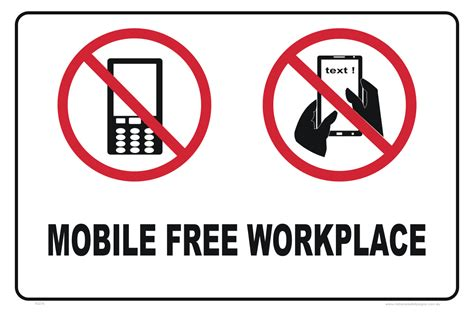 mobile sign in mobile free workplace sign no mobile phones signs