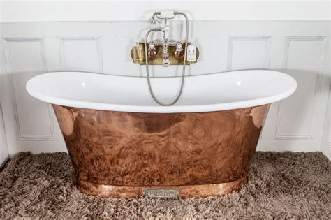 bathroom with bathtub royal copper bath with white interior chadder co