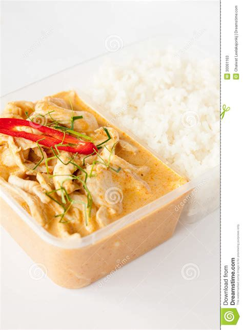 cuisine box take away food panang curry with rice stock image