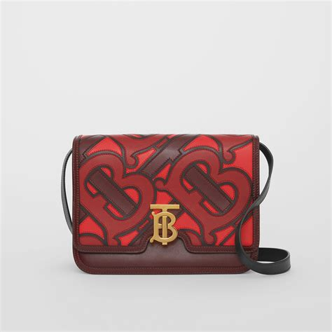 medium monogram applique leather tb bag  oxblood women