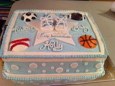 Sports Baby Shower Cakes by Sports Themed Baby Shower Cake Baby Shower Cakes