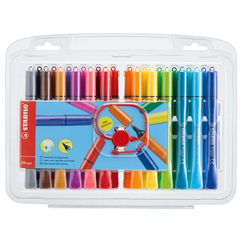 stabilo cappi colouring pens with cap ring wallets of 12