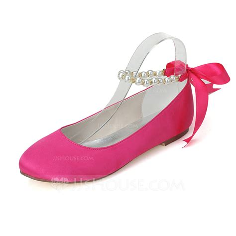 pink flats shoes s satin flat heel closed toe flats with imitation