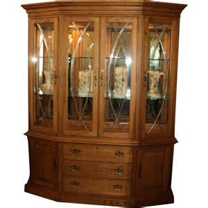 Thomasville China Hutch Vintage Solid Oak China Breakfront Display Cabinet By
