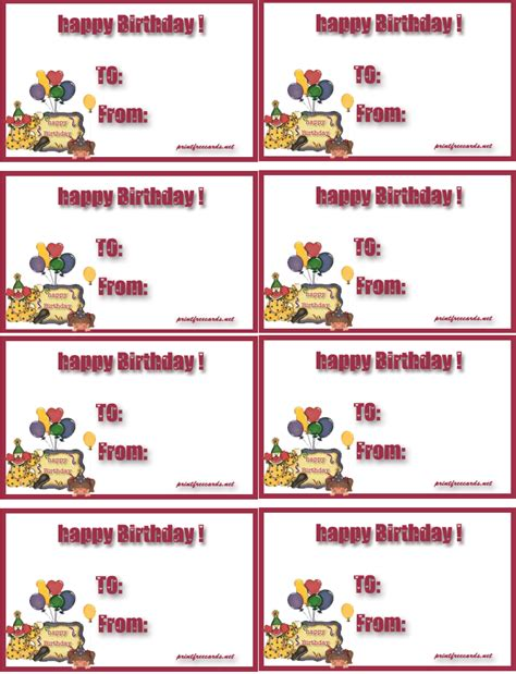 printable birthday gift tags templates 5 best images of free printable birthday gift tags