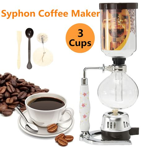 Syphon Coffee 3 cups glass syphon coffee maker machine brewer siphon vacuum pot filter bottle coffee tools at