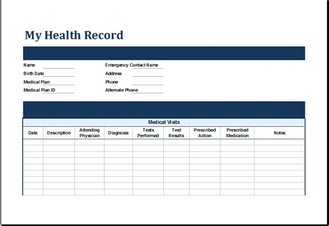 Personal Health Record Template ms excel personal health record template excel