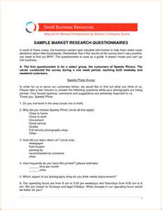 Marketing Questionnaire Template by Sle Questionnaire Exle Basic Market Research