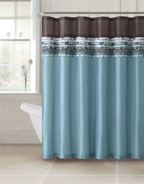 shower curtain blue brown poetica faux silk aqua blue teal brown turquoise fabric