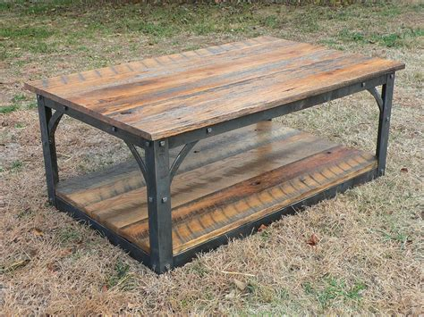forged iron and reclaimed barn wood coffee table