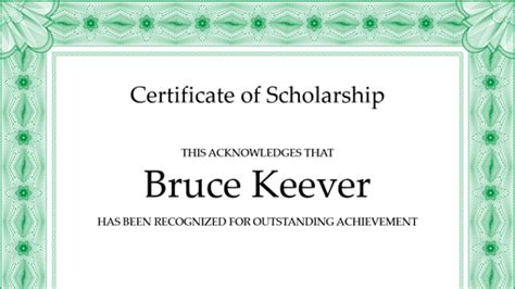 Certificate of scholarship (formal green border)   Office