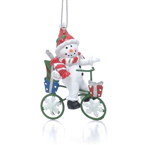 snowman decorations buy cycling snowman tree decoration