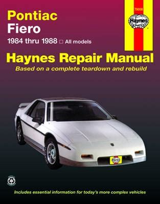 chilton car manuals free download 1985 pontiac fiero head up display pontiac fiero haynes repair manual 1984 1988 xxx79008