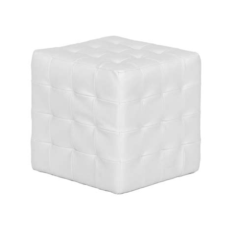 White Leather Cube Ottoman White Leather Cube Ottoman Balloon Rental