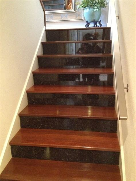 Granite Stairs Design Cherry Wood And Granite Stairs Jpg