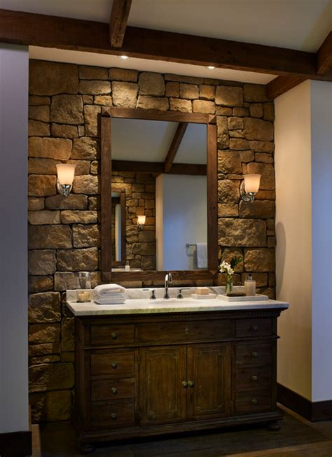 Modern Powder Room Mirrors - rustic stone wall bathroom