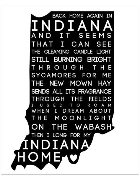back home again in indiana typography print any color