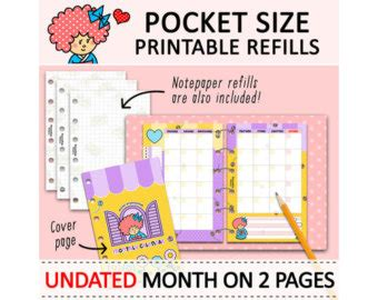 printable pocket organizer printable pocket size cute kawaii kokeshi diy to do list