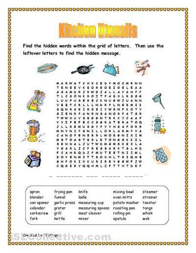 Kitchen Utensil Crossword by Free Kitchen Utensils Worksheet Kitchen Utensils