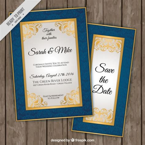 Wedding Invitation Border Vector by Wedding Invitations With Blue And Golden Border