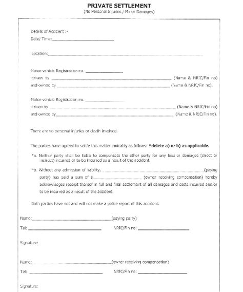 Car Settlement Agreement Letter Car Car Settlement Form