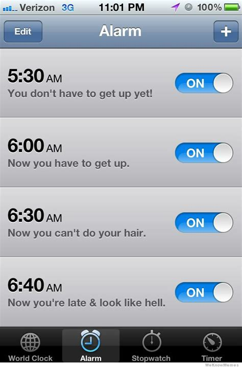 Iphone Alarm Meme - morning alarm routine weknowmemes