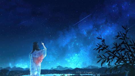 anime girl kimono night sky scenery