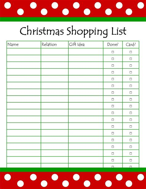 Printable Xmas List | it s so splendid free printable christmas shopping list