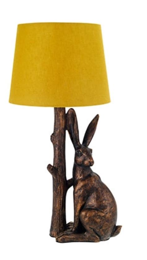 Chandelier With White Shade Sainsburys Hare Lamp With Ochre Shade Woodland Walk