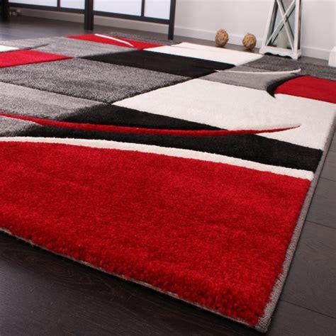 teppich rot schwarz designer teppich mit konturenschnitt karo muster rot