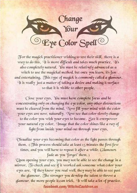 change your eye color spell change your eye color spell all my witchypoo spells