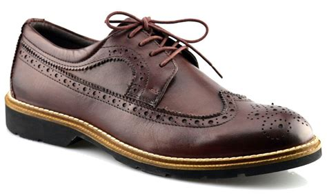 mens new leather memory foam formal lace up