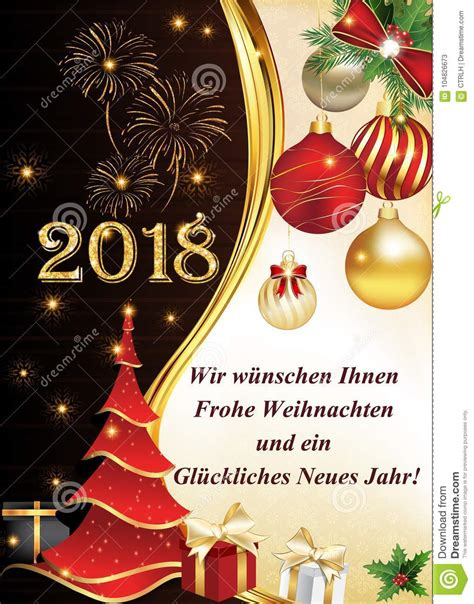 german greeting card     merry christmas   happy  year  stock