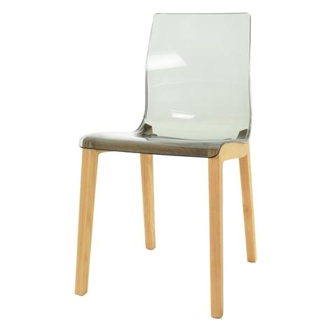 Plastic Dining Chair Smoke Grey Plastic Dining Chair With Wood Legs From Fusion Living
