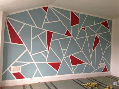pattern ideas to paint on walls diy geometric feature wall frog tape and dulux roasted