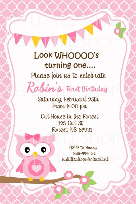Birthday Card Invitations Pink Owl Birthday Invitation Card Customize By Nslittleshop