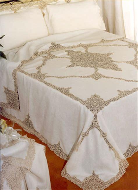 gabrieli tende copriletto e lenzuolo in puro lino con pizzo cant 249 rosalin