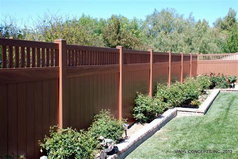 Vinyl Room Dividers - walnut vinyl wood look fencing gates railing patio